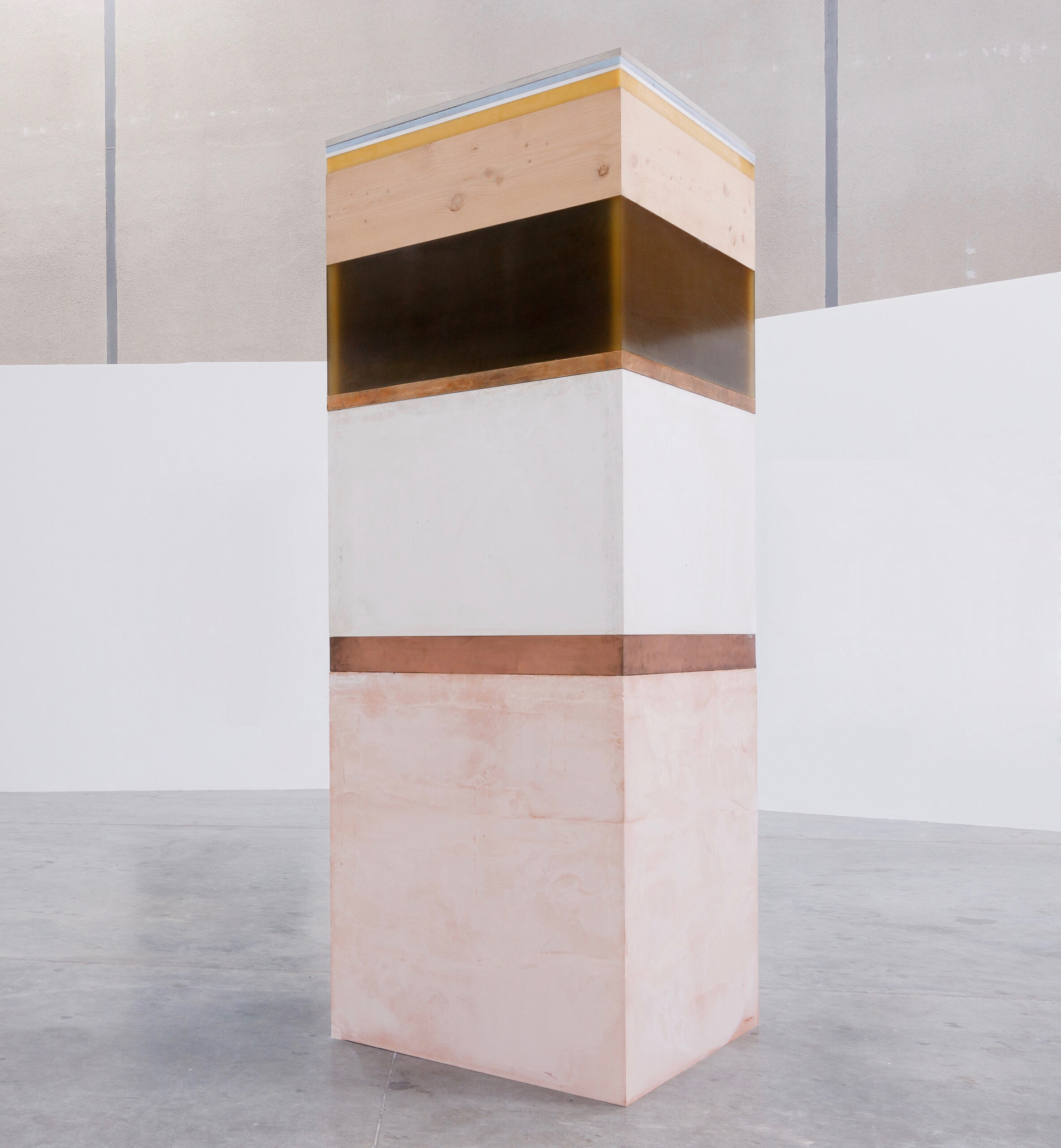 Shaikha Al Mazrou,Scales, 2017, Chamotte clay, Copper, Plaster, Bronze, Resin, Cedar,Wood, Beeswax, Concrete, Silicon and Marble,300 x 100 x 100 cm, Courtesy Lawrie Shabibi and the artist