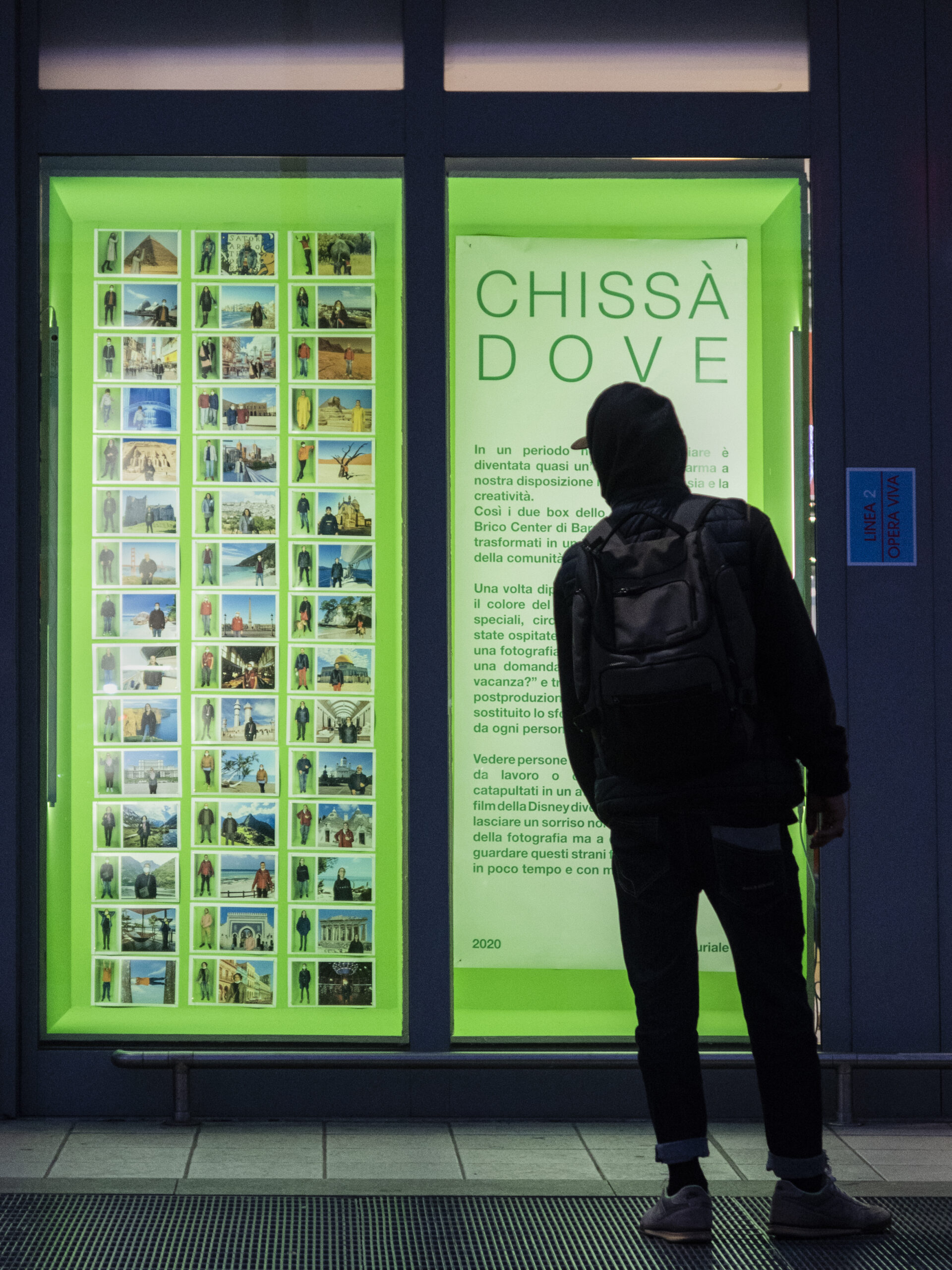 Chissà dove (2020), site specific, installation and performance, printed digital artworks on paper, wood, green screen painting, neon - Marco Curiale - courtesy of the artist